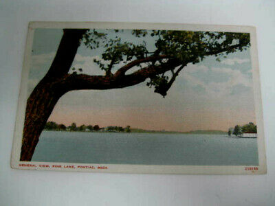 [R2] Vtg travel vacation postcard Michigan PINE LAKE Pontiac 1916 antique