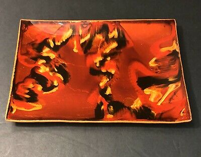 Vtg Blood Orange Foil Infused Black Yellow/Gold Style Dish Sanborns Mid Century