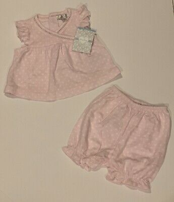 New Kissy Kissy Girls Pink And White Polka Dot 2 Piece Outfit 0-3 Months