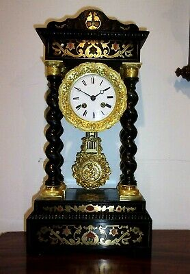 19h CENTURY FRENCH PORTICO CLOCK. FULLY RESTORED MOVEMENT AND CASE. RUNS WELL