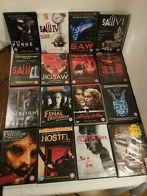 16 DVD Bundle - 5 Saw Movies - Hostel 1 + 2 - Texas Chainsaw - The Unborn