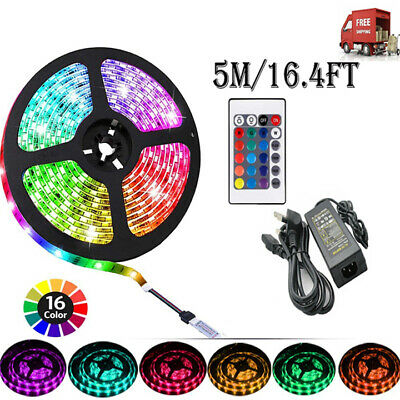 5M LED Strip Lights 12V 5050 RGB Color Changing Remote Control + Adapter Charger