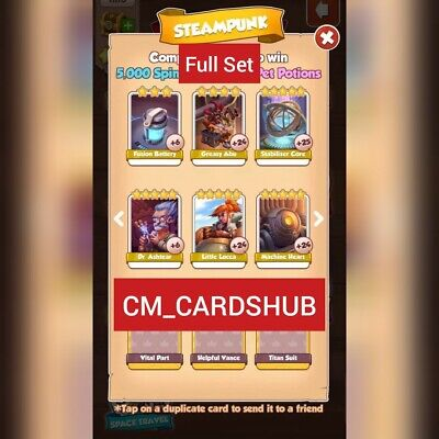 Coin Master Cards Steampunk Full Set 6 Cards (Get in a Min)