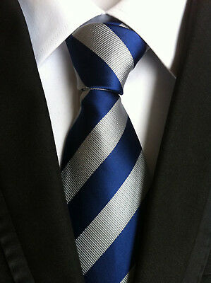 Classic Men's Blue Gray Stripe JACQUARD WOVEN Neck Ties Wedding Party gift