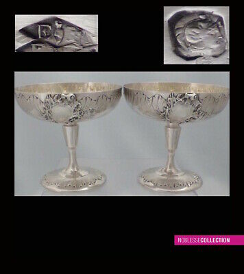 PUIFORCAT RARE ANTIQUE 1880s FRENCH STERLING SILVER ICE CREAM CUPS SET 2 pc
