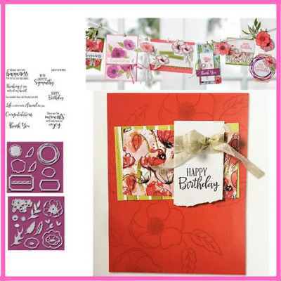 Metal Cutting Dies And Stamps Happiness Happy Frames Flower For DIY Scrapbooking