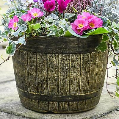 Whiskey Barrel Garden Planter Lightweight Weatherproof 1, 2 or 5 x Planters T&M