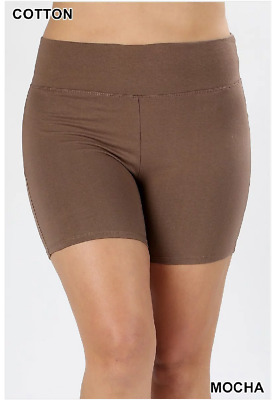 Zenana Outfitters 3X Shorts Wide Waistband  Premium Stretch Cotton Blend Mocha