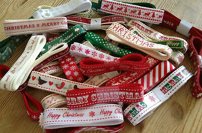 Bundles of 5 x 1 Metre Happy Merry Christmas Ribbon Gift Wrapping