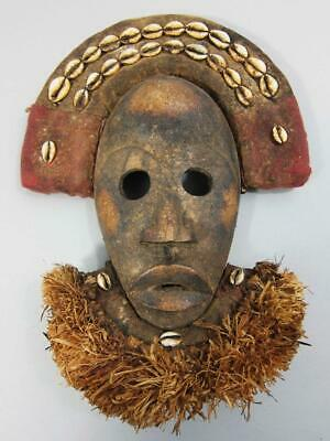 BEAUTIFUL AFRICAN CARVED WOOD TRIBAL MASK with SHELL HEADDRESS & BEARD