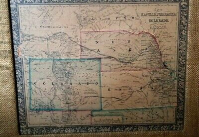 Antique 1860s Miller's Map KANSAS NEBRASKA & COLORADO & ATTACHED TO DACOTAH Frmd