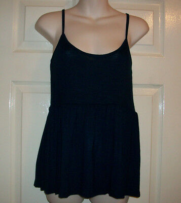 Ladies / Womans / Girls Lovely Navy Blue Semi Flared Cami  Vest Top Size 12 Bnwt