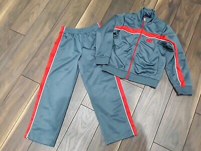 Nike Boys Girls Grey Red Tracksuit Trousers Top Jacket Joggers Age 6 Yrs