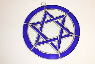 One Leaded Stained Glass Round Sun Catcher BLUE Star of David Hanging 7''