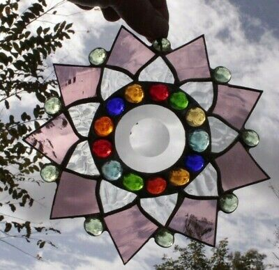 One Leaded Stained Glass Round Sun Catcher  Hanging 7''  #4