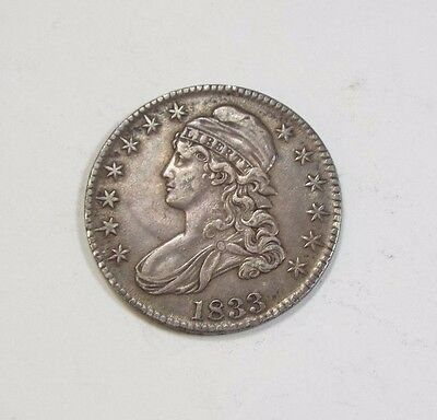 1833 Capped Bust/Lettered Edge Half Dollar EXTRA FINE Silver 50-Cents