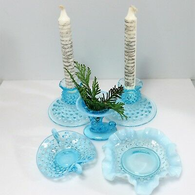 FENTON Blue Hobnail opalescent glass w/ some uranium LOT of 5 Pieces Near Mint!