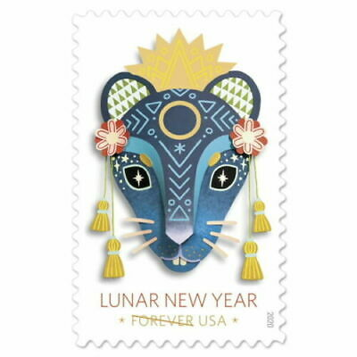 2020 YEAR of the RAT Lunar New Year 2 Stamps USPS # 5428