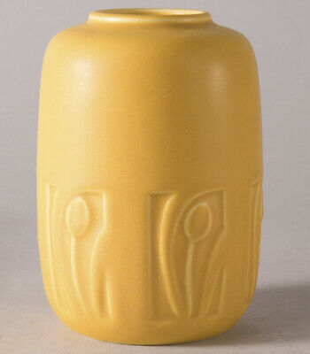 Rookwood American Art Pottery Incised Vase 1927 Canary Yellow Matte Glaze Fab NR