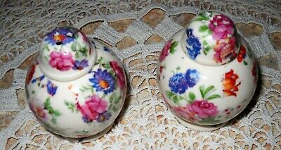 Antique Vintage Chintz Floral Made in Japan Small Salt and Pepper Shakers