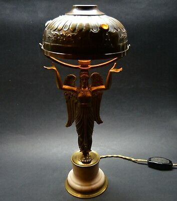 Antique French ART Nouveau 1910's  Lamp Angel , Shade with Crystal Stones