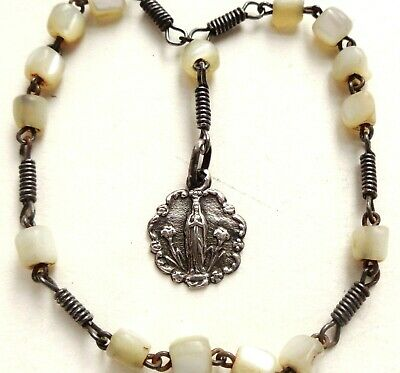 Antique Pearl Beads Rosary Bracelet With Silver Medal To Our Lady Of Lourdes