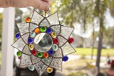 Leaded Stained Glass Round Sun Catcher  Hanging 7''  #7