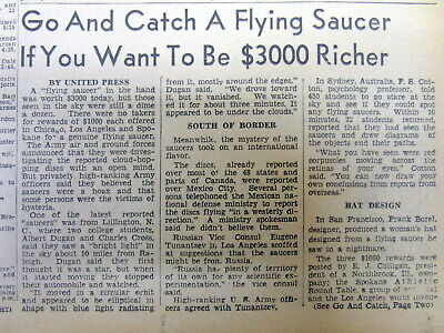 1947 newspaper BEGINNING of the modern day FLYING SAUCER / UFO craze RewardOffer