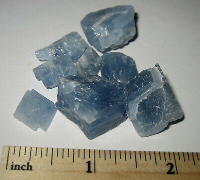 "8 SMALL NATURAL .5""-.8"" BLUE CALCITE CRYSTAL MINERALS FROM MEXICO ~ 25.8 grams"