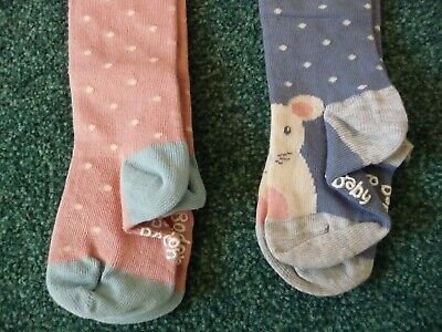 2x Baby Boden Tights New 18-24 Months Blue with Mice Feet & Pink Polka Dot Girls