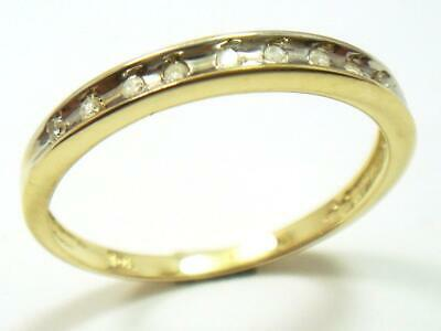 Bestjewellery 10Kt Solid Yellow Gold 9 Diamonds Band Ring Size 7 R1445