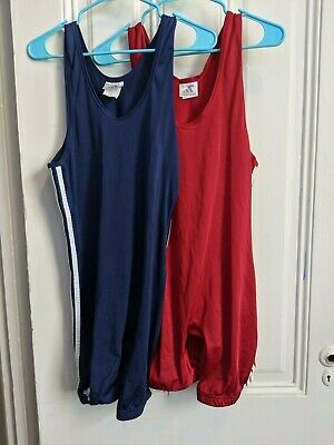 Lot of 2 Used Adidas Wrestling Singlets in Red and Blue from 2000 Lycra Nylon L