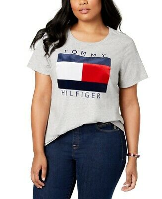 Tommy Hilfiger Womens Top Heather Gray Size 2X Plus Knit Logo T-Shirt $44 376