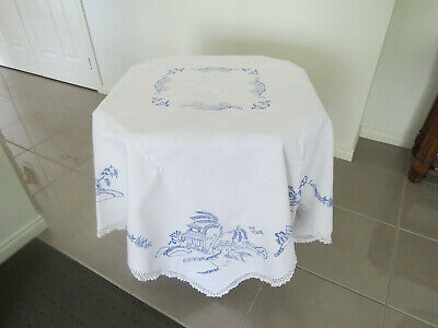 Beautifully Embroidered **Blue Willow** White Linen Table Cloth + Crochet Edge