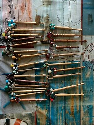 26 Old/Vintage Wooden Lacemaking Bobbins With Spangles Beads