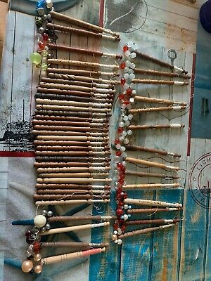 48 Old/Vintage Wooden Lacemaking Bobbins With Spangles Beads, Words,