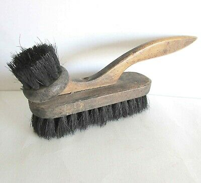 "Primitive Old Wood Double Brush with Extended Handle 9.75"" antique FREE SH"