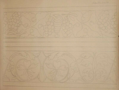 Antique pencil drawing Art Nouveau floral pattern signed