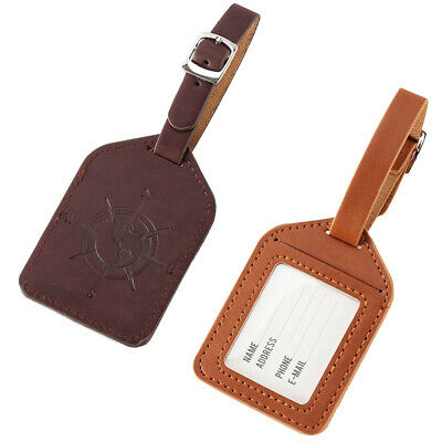 Travel Luggage Tag PU Leather Suitcase Baggage Bag Office Name Address ID Label