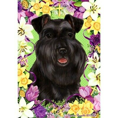 Easter House Flag - Uncropped Black Schnauzer 33127