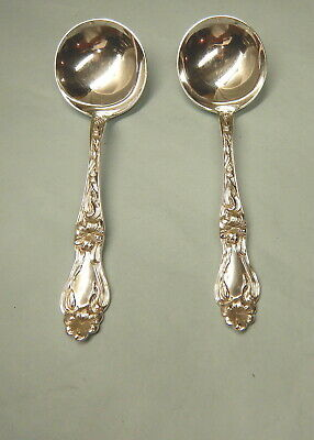 2 Lily-Floral Sterling Round Bowl Soups-Ornate 1910 Whiting Finest-Table Ready