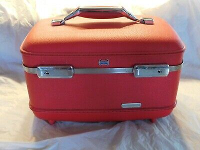 old vintage american tourist makeup cosmetic case travel luggage red non smoking