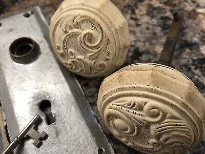 Vintage Antique Ornate Ornamental Cast Door Knob Set Face Plates Lock With Key