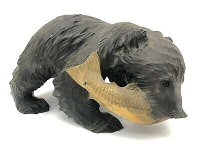 VTG HAND CARVED BEAR w/ SALMON in Mouth WOOD FIGURE Black Forest Animal Fish Art