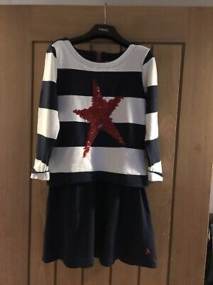 Joules Girls Dress Age 7-8 Years Red Star Navy Stripe