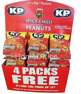 Kp Nuts Peanuts 21 x 50g Packs On Pub Card Savoury Snacks Spicy Chilli
