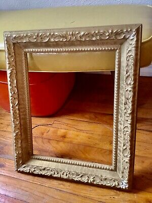 Vtg antique Gold Gilt Carved Gesso Wooden wood Painting Frame Art picture 18X15