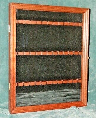 Wood Collector Spoon Display Case With Glass Door For 36 Spoons Hang Or Sit