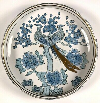 Vintage Gold Imari Japan Hand Painted Blue Bird Bowl Gold Peacock Pheasants