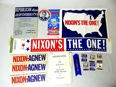 1A Republican Political Campaign items Nixon Agnew Goldwater Wallace 1960s